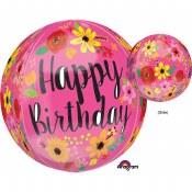 Birthday Floral Orbtz Balloon