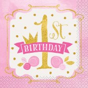 1st Birthday Pink/gold Napkins