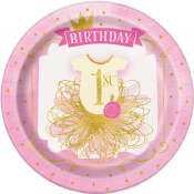 1st Bday Pink/gold Plates