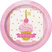 1st Birthday Pink & Gold Plate