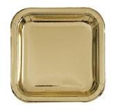 Gold Metallic Sq Lunch Plates