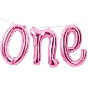 One Pink Foil Balloon