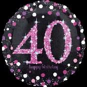 40th Pink/black Foil Balloon