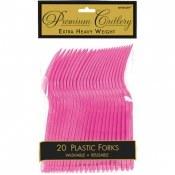 Bright Pink Plastic Forks