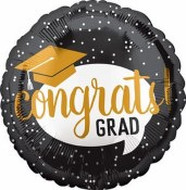Grad Blk/gold Foil Balloon