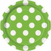 Polka Dot Dessert Plates Lime