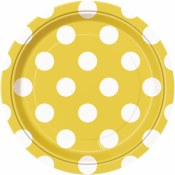 Polka Dot Dessrt Plates Yellow