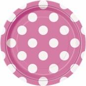 Polka Dot Dessert Plates Pink