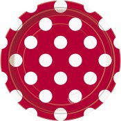 Polka Dot Dessert Plates Red