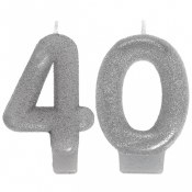 40th Silver Glitter Candle
