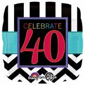 40th Chevron Foil Balloon