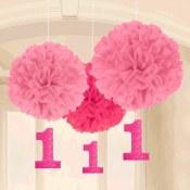 1st Birthday Pink Fluff Balls