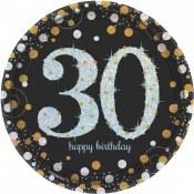 30th Sparkling Dessert Plates
