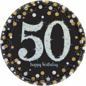 50th Sparkling Dessert Plates