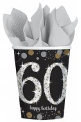 60th Sparkling Paper Cups