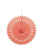 Paper Fan Decor 16in Coral