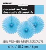 Paper 6in Fan Decor Lt Blue