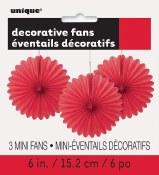 Paper 6in Fan Decor Red