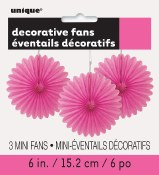 Paper 6in Fan Decor Hot Pink