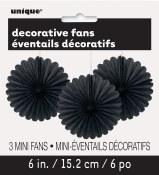 Paper 6in Fan Decor Black