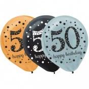50th Latex Balloons 15ct