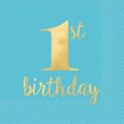 1st Birthday Blue Napkins