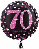 70th Polka Dot Pink Balloon