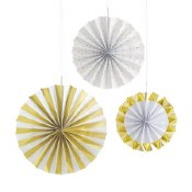 Gold Foil Fan Decor 3ct