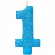Blue #1 Glitter Candle