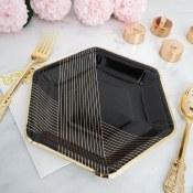 Black/gold Striped Plates