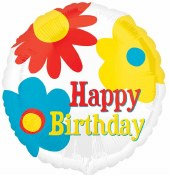 Birthday Floral Foil Balloon