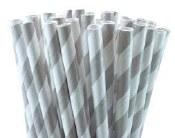 Paper Straws 5in Grey Stripe