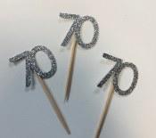 70 Glitter Cupcake Topper-12ct