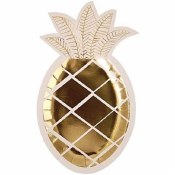 Pineapple Shaped Plates Gold