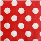 Polka Dot Bev Napkins Red