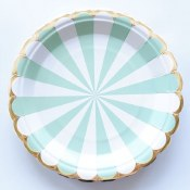 Stripe Mint Lunch Plates