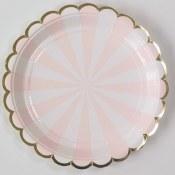 Stripe Pink Dessert Plates