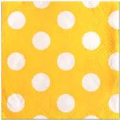 Polka Dot Bev Napkins Yellow