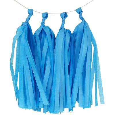 Tissue Tassels Bright Blue