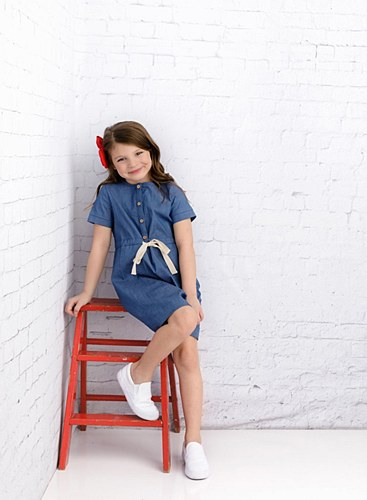 Girls Blue Denim Tie Dress-5--