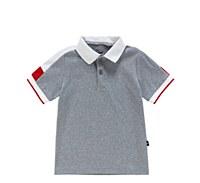 Boys Short Sleeve Grey Polo wi