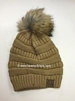 Pattern Knit Hat With Fur Pompom