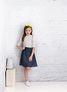 Girls' Speckled Denim Jumper-1