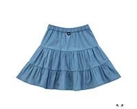 Girls Tiered Skirt-Chambray