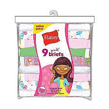 Hanes Girls Briefs 9 Pack #P913BR