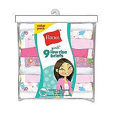 Hanes Girls Low Rise Briefs 9 Pack #P913LR
