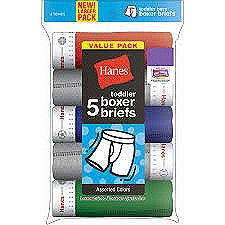 Hanes Toddler Boys Boxer Briefs 5 Pack Assorted Colors #TB745P5