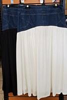 Metallic Denim Skirt-White-L-