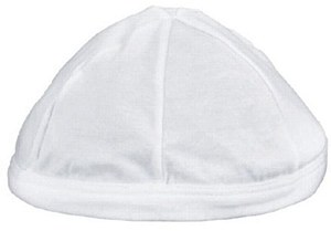 White Sleeping Yarmulka-L