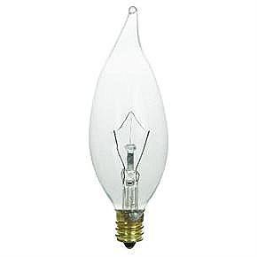 60 Watt Flame Tip Chandelier Bulb, Candelabra Base, Clear